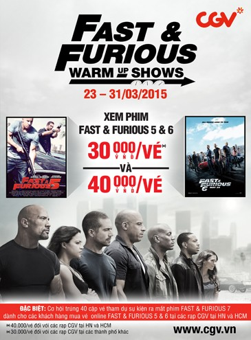 CGV: FAST & FURIOUS WARM UP SHOWS